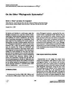 Phylogenetic Systematics - Wiley Online Library