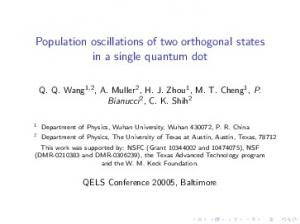Population oscillations of two orthogonal states in a ...