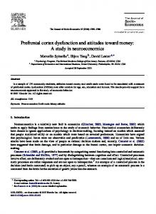 Prefrontal cortex dysfunction and attitudes toward money
