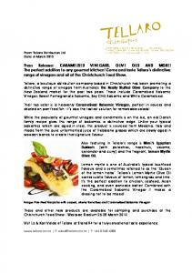 Press Release: CARAMELISED VINEGARS, OLIVE ...