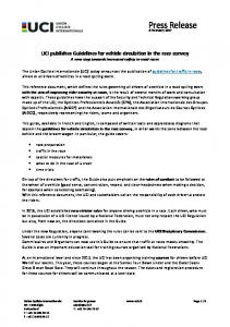 PRESS RELEASE - UCI publishes Guidelines for ...