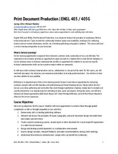 Print Document Production | ENGL 405 / 405G