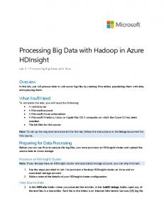Processing Big Data With Hadoop In Azure HDInsight - GitHub