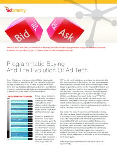 Programmatic Buying and the Evolution of Ad Tech  Services