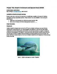 Project Title: Dolphin Enrichment and Operant Panel ...