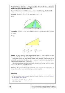 Proof Without Words: A Trigonometric Proof of the Arithmetic Mean ...