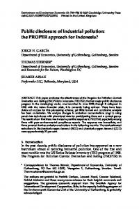 Public disclosure of industrial pollution: the PROPER ...