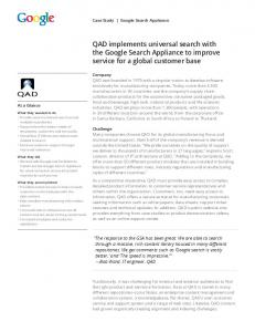 QAD implements universal search with the Google ...  Services