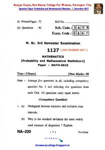 QUESTION PAPER MSC3S_ PROBABILITY AND MATHEMATICAL ...
