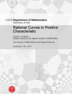 Rational Curves in Positive Characteristic - UiO - DUO