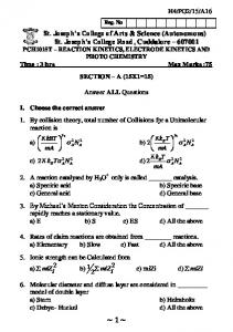 Reaction Kinetics , Electrode Kinetics And Photo Chemistry - 04 16 ...