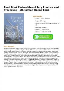 Read Book Federal Grand Jury Practice and Procedure