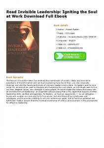Read Invisible Leadership: Igniting the Soul at Work ...