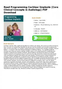 Read Programming Cochlear Implants