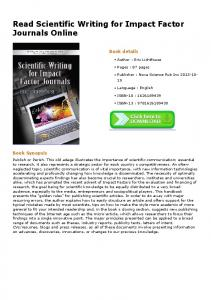 Read Scientific Writing for Impact Factor Journals ...