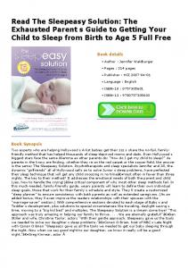 Read The Sleepeasy Solution: The Exhausted Parent s ...