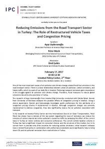 Reducing Emissions from the Road Transport Sector in Turkey: The ...