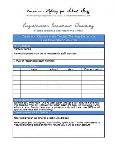 Registration Erasmus+ Training -