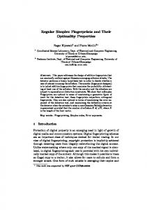 Regular Simplex Fingerprints and Their Optimality Properties - UIUC-IFP