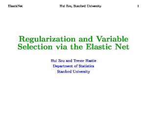 Regularization and Variable Selection via the ... - Stanford University