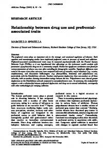 Relationship between drug use and prefrontal
