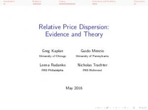 Relative Price Dispersion: Evidence and Theory