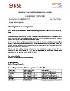 Reminder for submission of Internal Audit Report for the Half ... - NSE