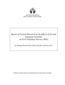Report of Current Research on the Effects of Second Language ...