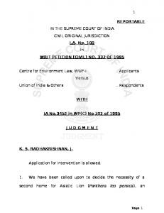 REPORTABLE IN THE SUPREME COURT OF ... - Conservation India