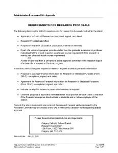 REQUIREMENTS FOR RESEARCH PROPOSALS