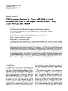 Research Article DNA Extraction Protocol for Plants ... -