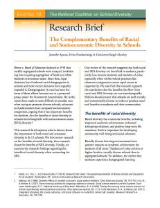 Research Brief - The National Coalition on School Diversity