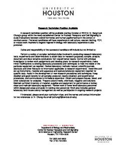 Research Technician Position Available A research ... -
