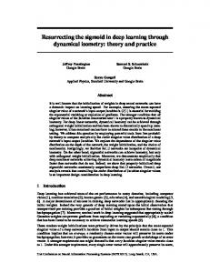 Resurrecting the sigmoid in deep learning ... - Research