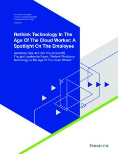 Rethink Technology In The Age Of The Cloud ...  Services
