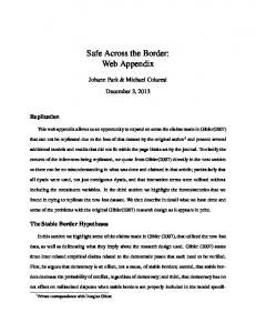 Safe Across the Border: Web Appendix
