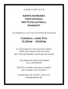 santa barbara high school boy's volleyball banquet ... -