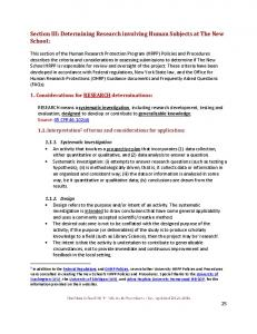Section III - Determining Research involving Human Subjects at The ...