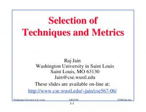 Selection of Techniques and Metrics - Washington University in St ...