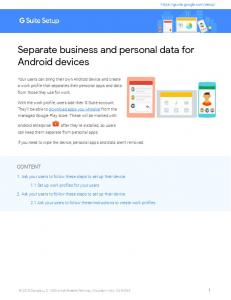 Separate business and personal data for Android ... - G Suite