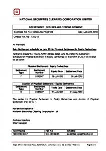 Settlement schedule for July 2018 - Physical Settlement in ... - NSE