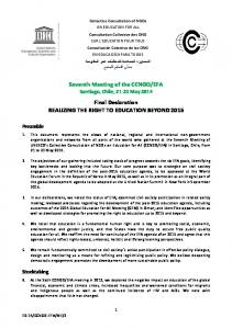 Seventh Meeting of the CCNGO/EFA Final Declaration REALIZING ...