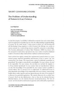 SHORT COmmuniCaTiOnS The Problem of understanding of nature in ...