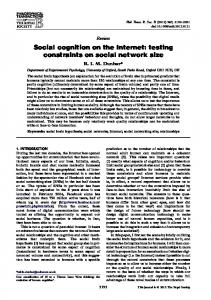 Social cognition on the Internet - testing constraints on social ...