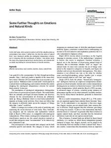 Some Further Thoughts on Emotions and Natural Kinds - SAGE Journals