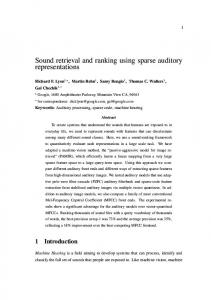 Sound retrieval and ranking using sparse auditory ... - Semantic Scholar