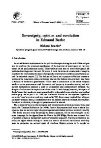 Sovereignty, opinion and revolution in Edmund Burke