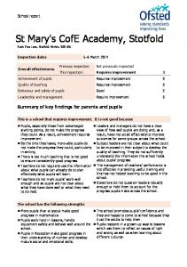 St Mary's CofE Academy, Stotfold - Ofsted Reports
