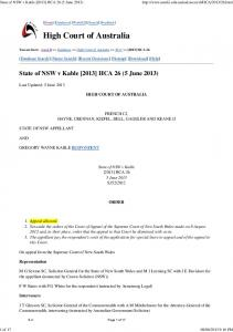 State of NSW v Kable [2013] HCA 26 Appeal allowed Section 107 ...