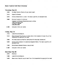 State Track & Field Meet Itinerary Thursday, May 18 ...